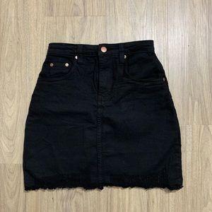PLT Petite Black Distressed Hem Denim Skirt